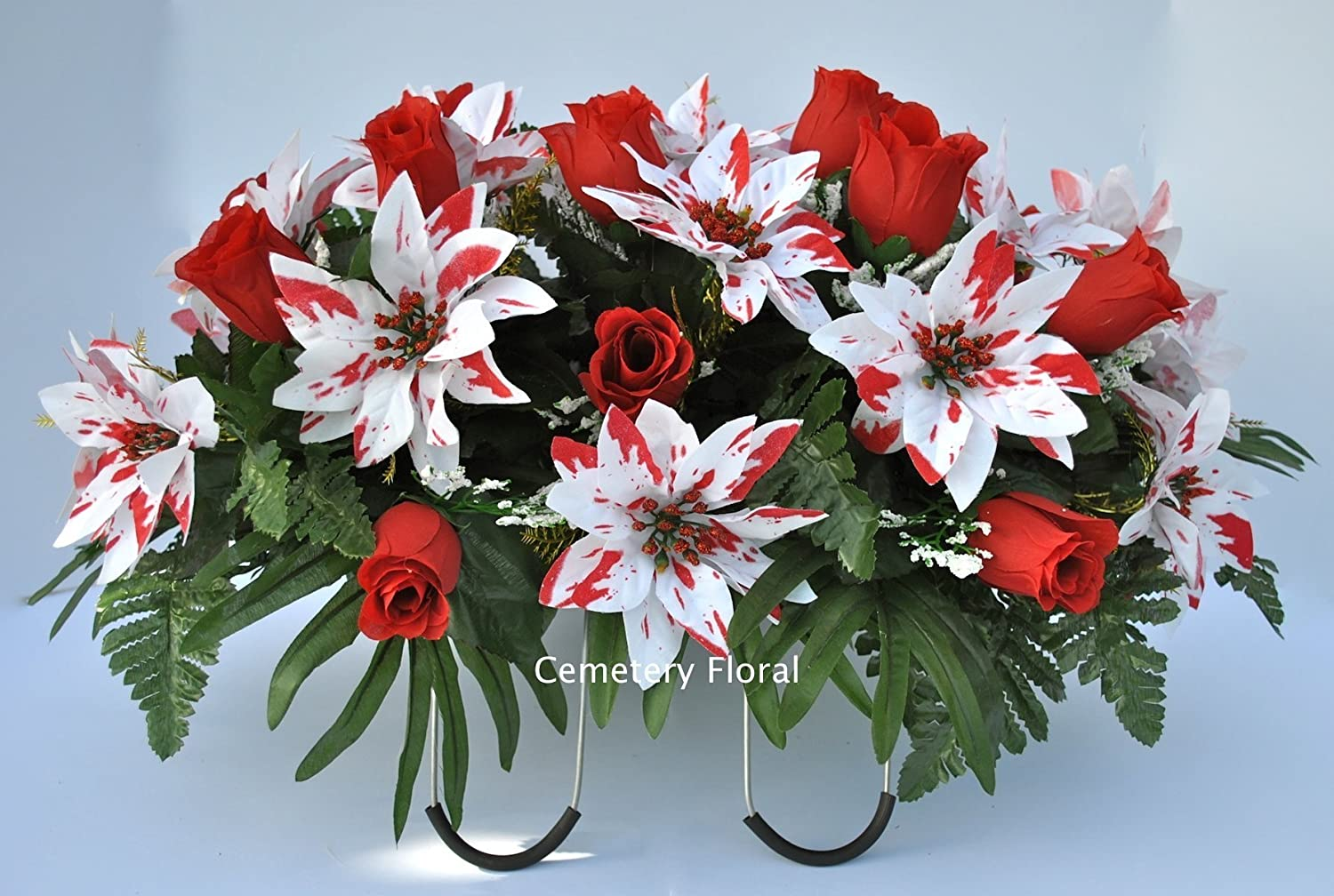 Amazon cemetery headstone decoration for christmas with amazon cemetery headstone decoration for christmas with peppermint poinsettias and red roses as a saddle handmade izmirmasajfo