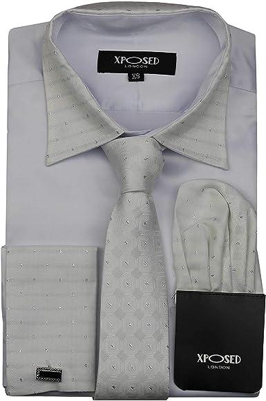 Camisa formal para hombre con cuello de borde plateado, doble puño con tacto satinado, vestido de novia, incluye corbata, pañuelo, gemelos