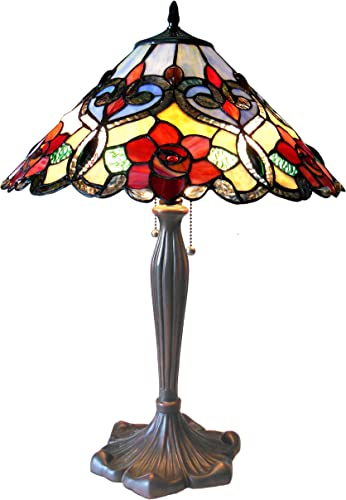Chloe CH15056RF17-TL2 Lindsay Tiffany-Style RosesTable Lamp with 17 Shade