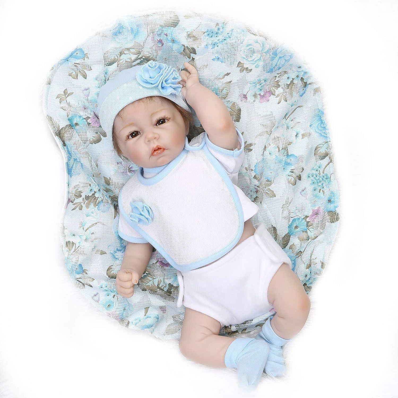Nicery Neugeboren Baby Puppe Weiche Halb Silikon Vinyl 20inch 50cm Magnetisch Mund Naturgetreue Jungen Mädchen Spielzeug Blau Kleid Reborn Doll A3DE