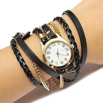 5dcaec88671 Montre Bracelet nbsp  Charme Vintage Weave cha icirc ne en cuir Bracelet  Femmes bijoux ...