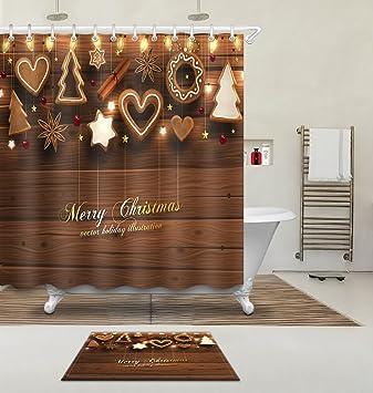 LB Duschvorhang Set 3D Druck Süße Plätzchen Hängen An Der Kaffee Holzwand  Motiv 180x180cm