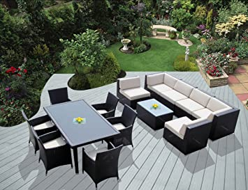 Ohana 14 Piece Outdoor Wicker Patio Furniture Sectional And Dining Set With  Weather Resistant Cushions