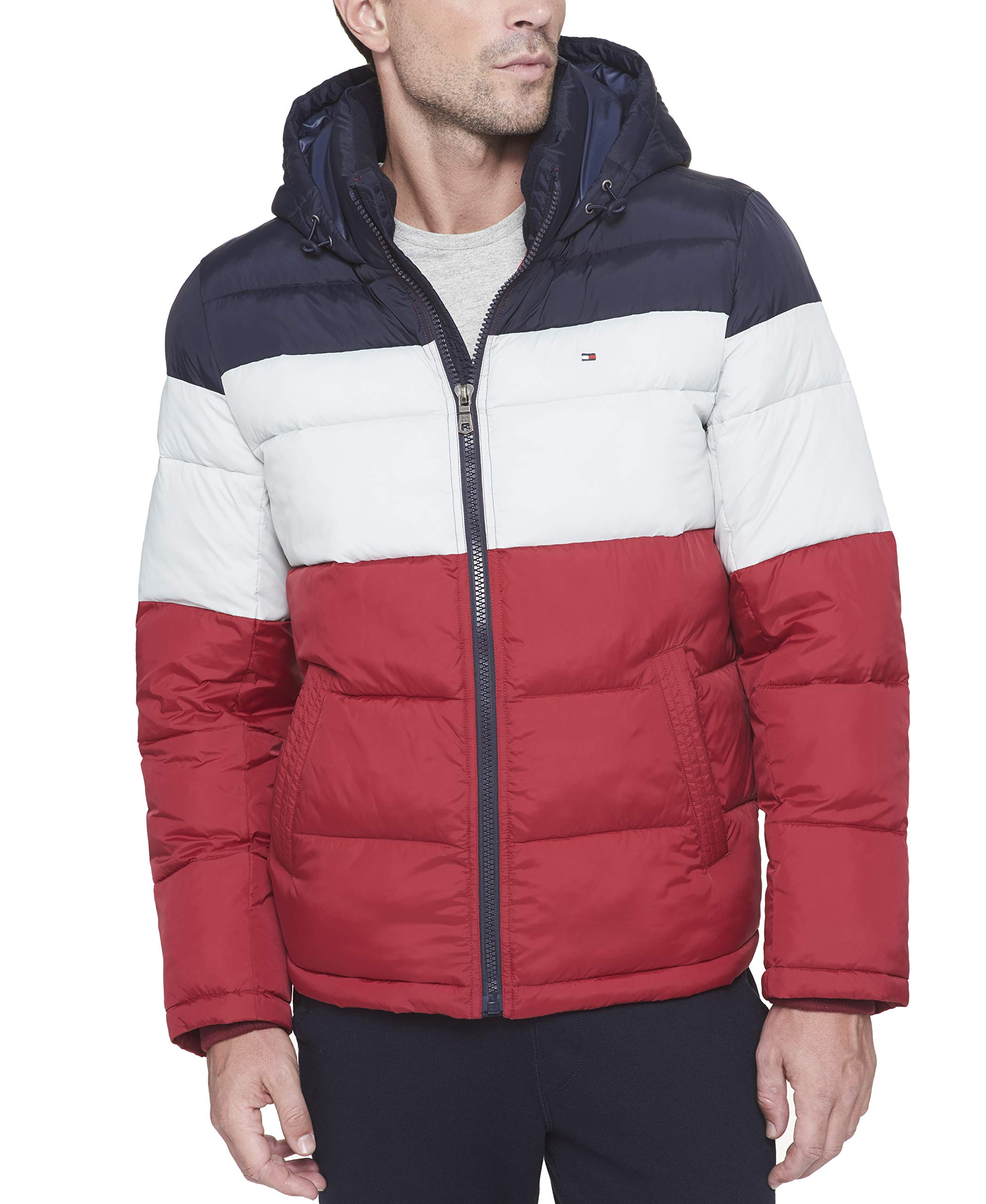 Tommy Hilfiger Men's Classic Hooded Puffer Jacket (Regular and Big & Tall Sizes), Midnight/White/red, Small by Tommy Hilfiger