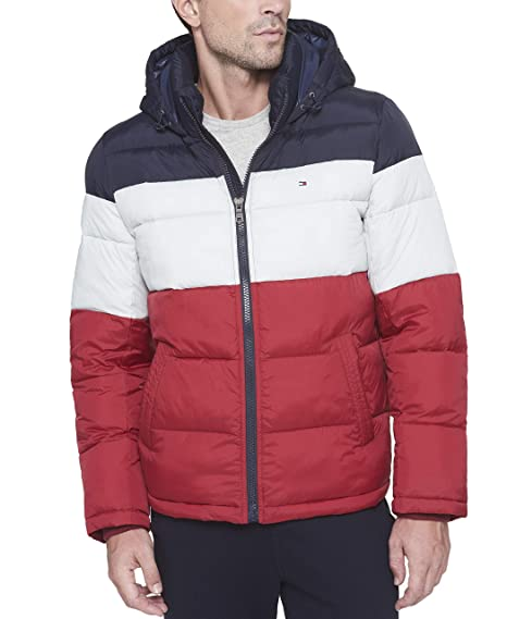 eb4cd411 Tommy Hilfiger Men's Classic Hooded Puffer Jacket, Midnight/White/Red,  Medium