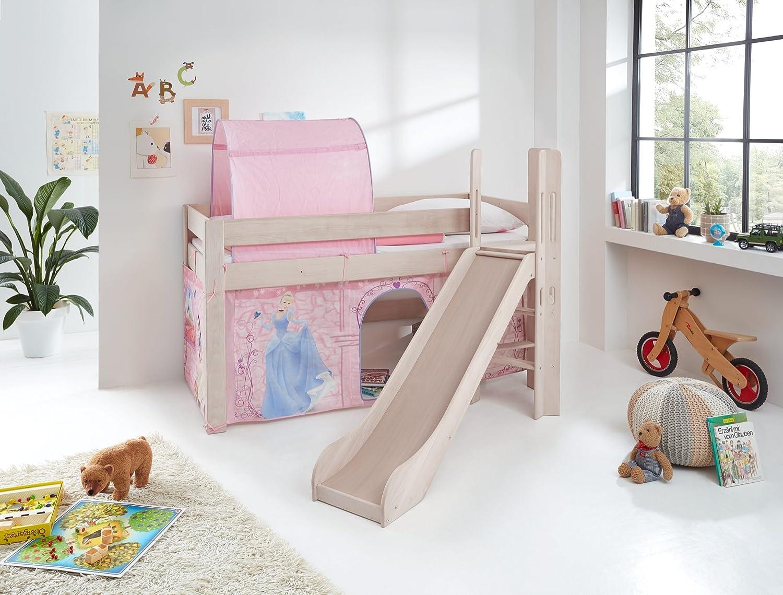 Relita Spielbett Leo, Buche massiv Weiß wash mit Rutsche und Leiter Hello Kitty Cinderella