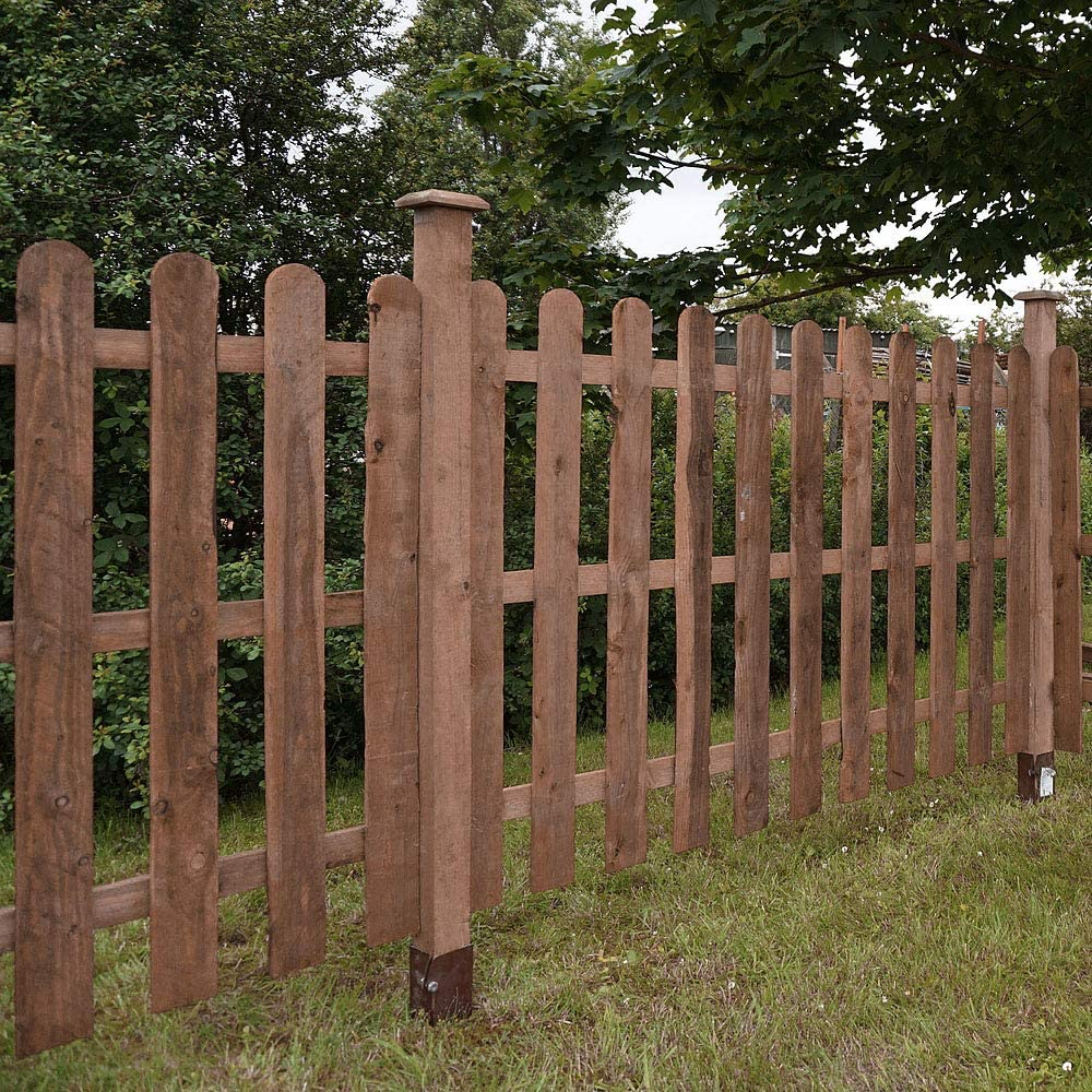 Pressure Treated Brown 3ft x 6ft, 4ft x 6ft 3ft x 6ft 1878 Wooden Fence Panels Picket Round Top Garden Fencing WALTONS EST