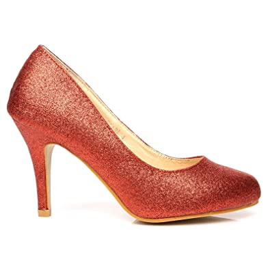 44dd726600c PEARL Red Glitter Stiletto High Heel Classic Court Shoes  Amazon.co.uk   Shoes   Bags
