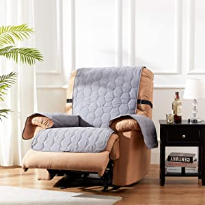 SunStyle Home 100% Waterproof Recliner Chair Slipcover Furniture Protector Honeycomb Quilted Recliner Couch Covers with Adjustable Elastic Strap and Non-Slip Backing - Dark Gray/Beige