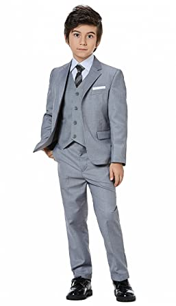c814efb92 Boys Classic Formal Dress Suits Set 5 Piece Slim Fit Dresswear Suit (5, Grey