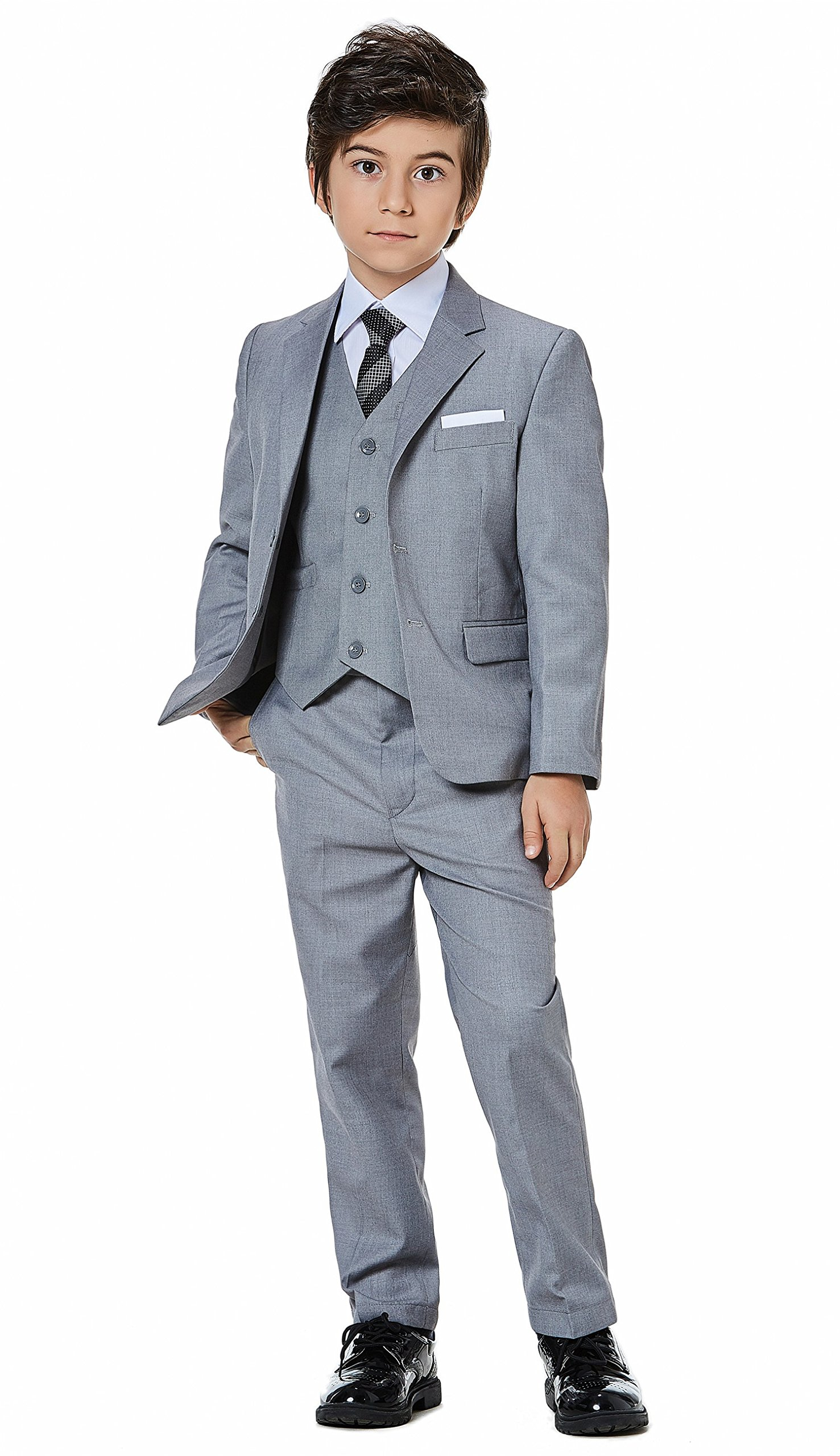 Boys Classic Formal Dress Suits Set 5 Piece Slim Fit Dresswear Suit (4, Grey 2)