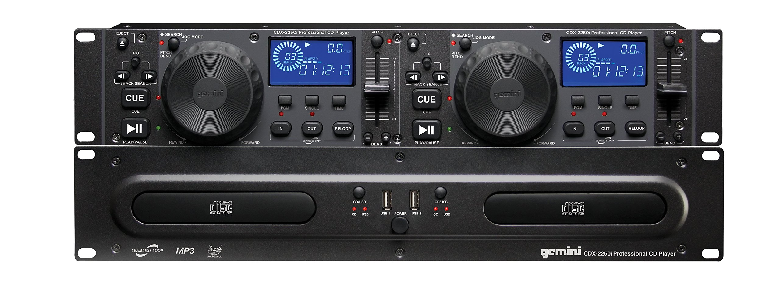 Gemini CDX Series CDX-2250i Professional Audio DJ Equipment Multimedia CD Media Player with Audio CD, CD-R, and MP3 Compatible with USB Input by GEMINI