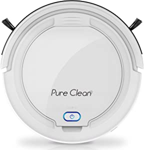Pure Clean Smart Automatic Robot Slim Rechargeable Electric Robo Vacuum Cleaner w, Self Programmed Navigation, Anti-Fall Sensors-Carpet, Hardwood, Linoleum, Tile, White
