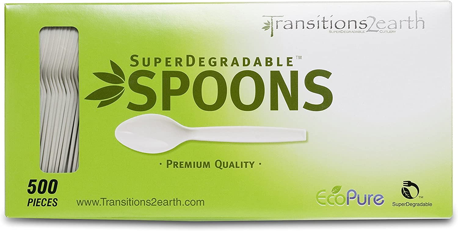 Transitions2earth Biodegradable EcoPure Spoons - Box of 500 - Plant a Tree with Each Item Purchased!: Kitchen & Dining