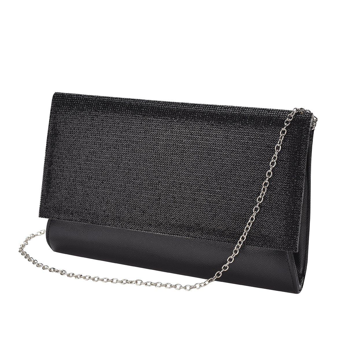 Vavabox Fashion Women Sparkly Rhinestone Evening Clutch Purse Wedding Party Handbag (black)
