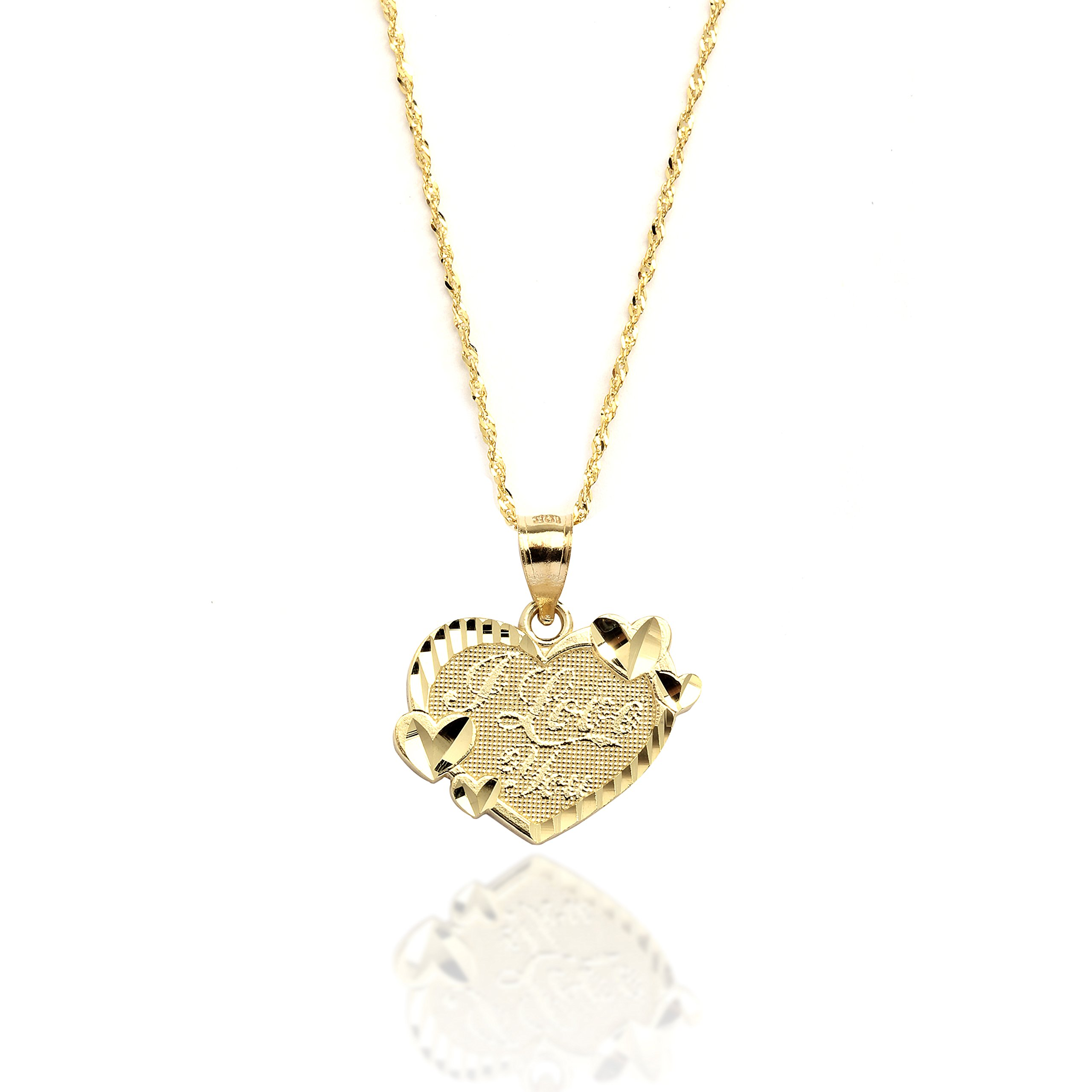 16'' 10k Yellow Gold I Love You Heart Charm Necklace with Singapore Chain for Women and Girls