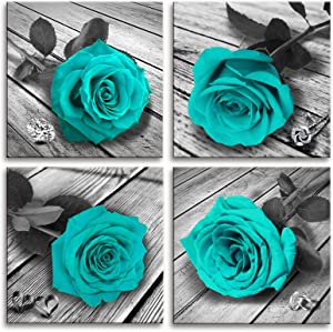 MESESE Teal Decor Wall Art for Bedroom Black and White Turquoise Rose Flower Paintings Pictures Living Room Bathroom Accessories Canvas Prints Home Decorations (Blue Rose 12inchesx12inchesx4Pcs )