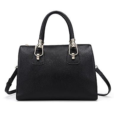 cba26f84662 Yafeige Women's Designer Handbags Vintage Soft Leather Tote Shoulder Bag  Satchel Purse(Black-1)