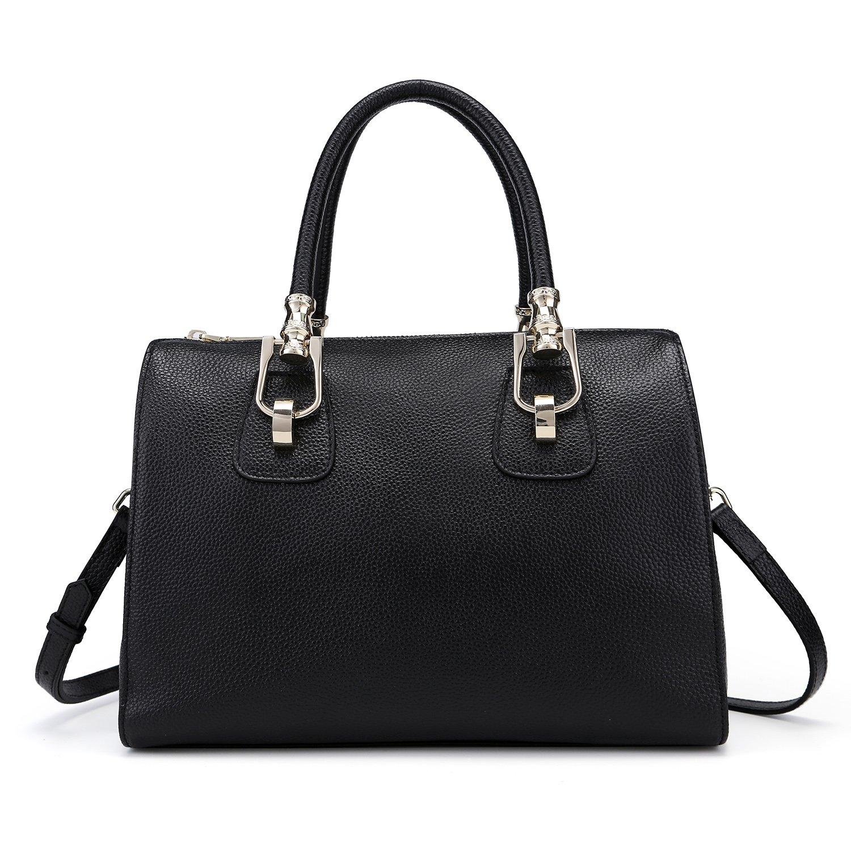 Yafeige Womens/Lady's Handbag Vintage Luxury Wax Genuine Leather Tote Shoulder Bag Satchel Purse(Black-1)