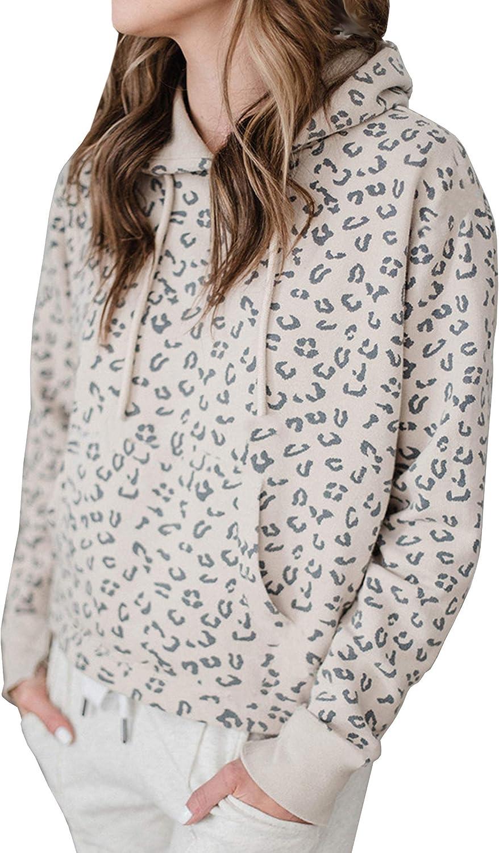 ECOWISH Womens Leopard Sweatshirt Lightweight Zipper Long Sleeve Casual Ladies Sweatshirts Pullovers Shirts Tops