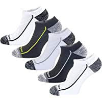 Aaronano 5 Pairs Men Half Cushioned Terry Athletic Running Socks Size