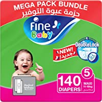 Fine Baby Double Lock, Size 5, Maxi, 11-18 kg, Two Mega Packs, 140 Diapers