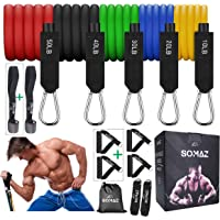SOMAZ 100% Natural Latex Resistance Bands Family Set for 2-Person (14pcs) with 4 Handles&2 Door Anchor, Ankle Straps…