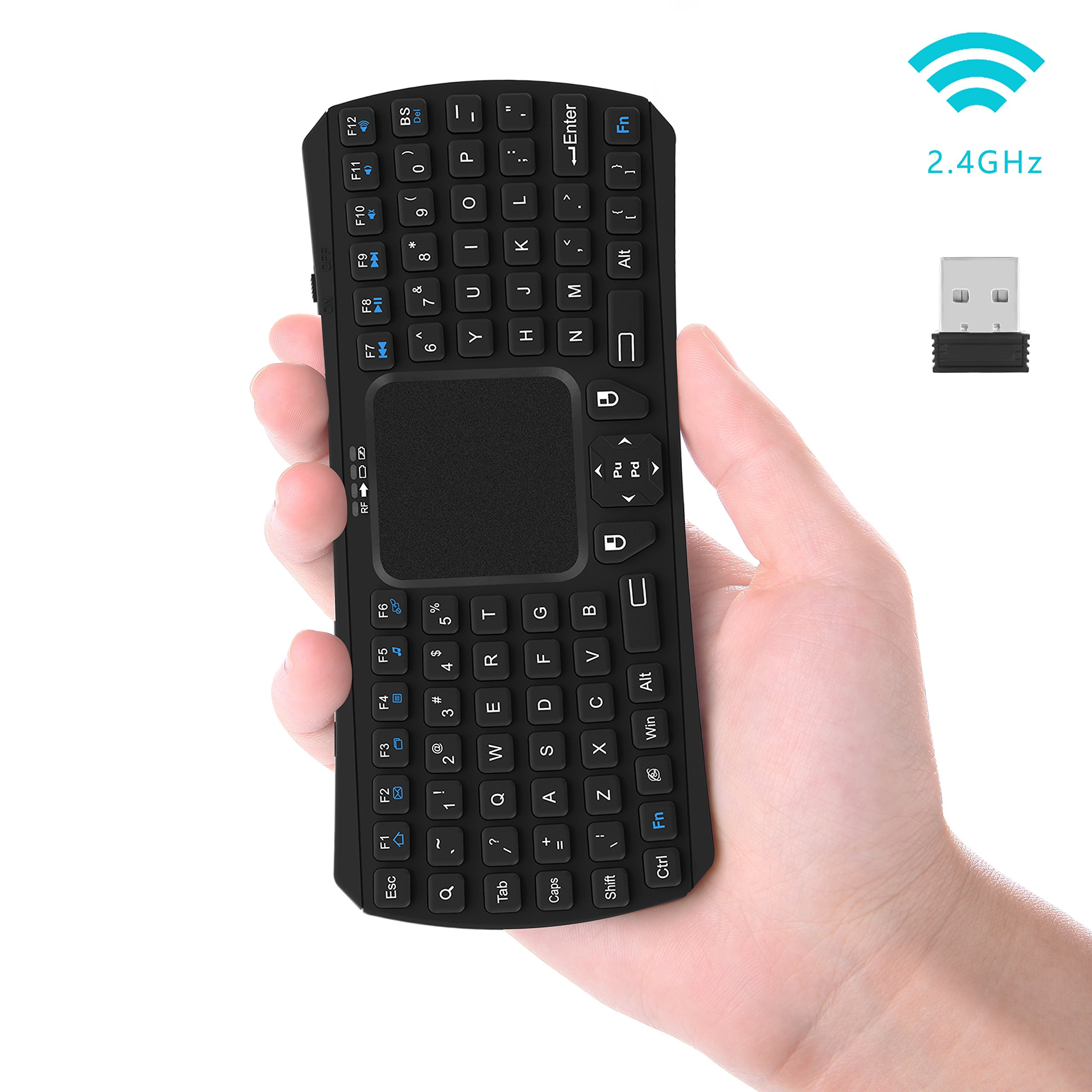 Mini Keyboard, Updated Wireless Mini Keyboard with Touchpad Mouse and Multimedia Keys : Jelly Comb 2.4Ghz USB Rechargable Handheld Remote Control Keyboard for PC, HTPC, X-Box, Android TV Box,Smart TV