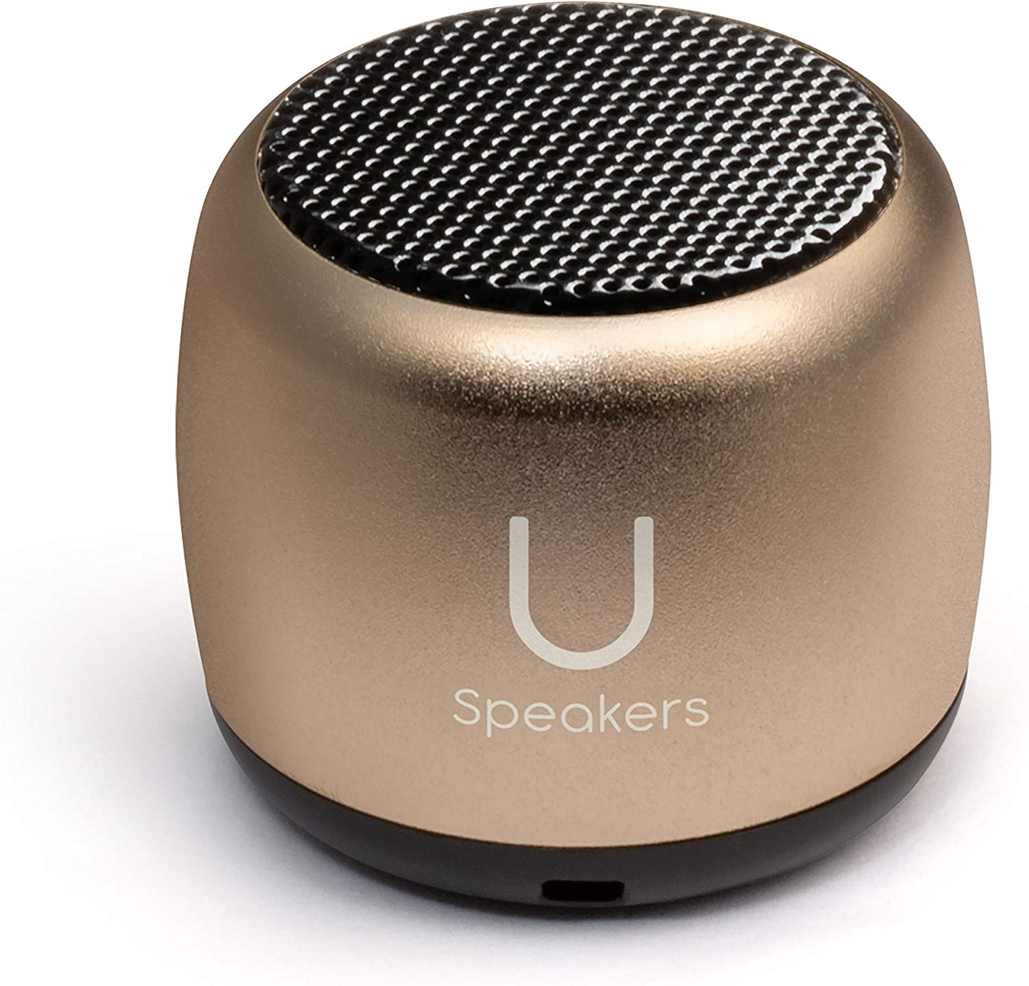 U Micro Speaker - Coin-Sized Portable Wireless Bluetooth 4.2 (Gold) - TWS Stereo Sound with Built-in Mic and Remote Shutter - 3-Hour Playtime, Aluminum - Perfect for Apple iPhone iOS Android …