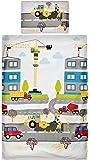 Aminata Kids Kinder-Bettwäsche Bagger Baustelle Auto-s 100x135 cm Jungs Weiss rot blau gelb Baumwolle Bau-Fahrzeuge Reissverschluss Fahrzeug-e süsse bunt-e Betonmischer