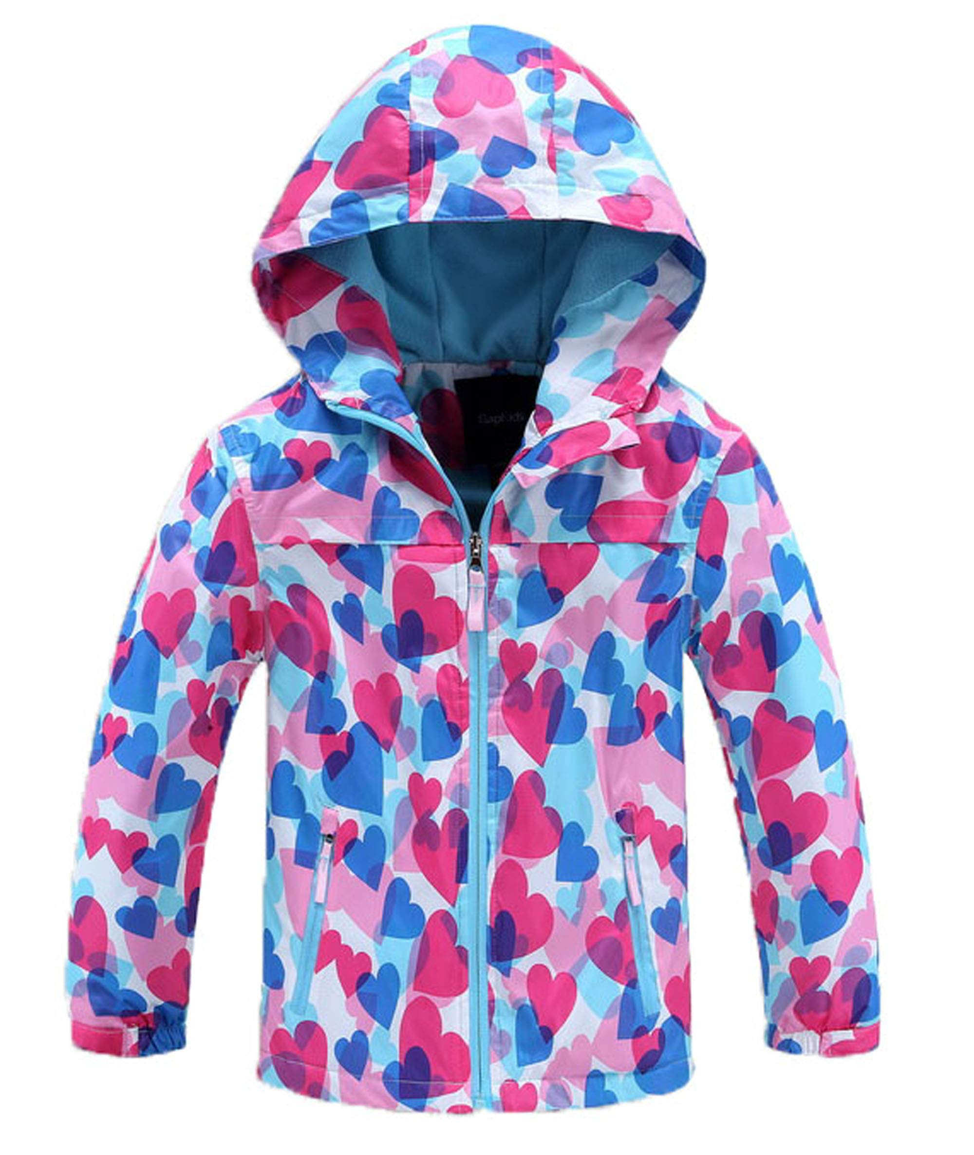 Seeduck Girls' Outdoor Floral Fleece Lined Windproof Jacket with Hood (5T=120CM=47.2 Inch, Light Blue) by Seeduck