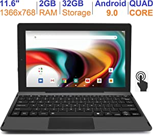 "RCA 11 Delta Pro 11.6 Inch Quad-Core 2GB RAM 32GB Storage IPS 1366 x 768 Touchscreen WiFi Bluetooth with Detachable Keyboard Android 9.0 Tablet (11.6"", Charcoal)"