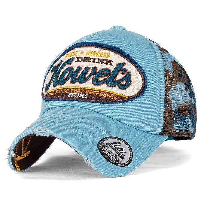 ililily Howel s Camouflage Baseball Mesh Cap Distressed Vintage Trucker Hat  (Medium 6b293a1d59d