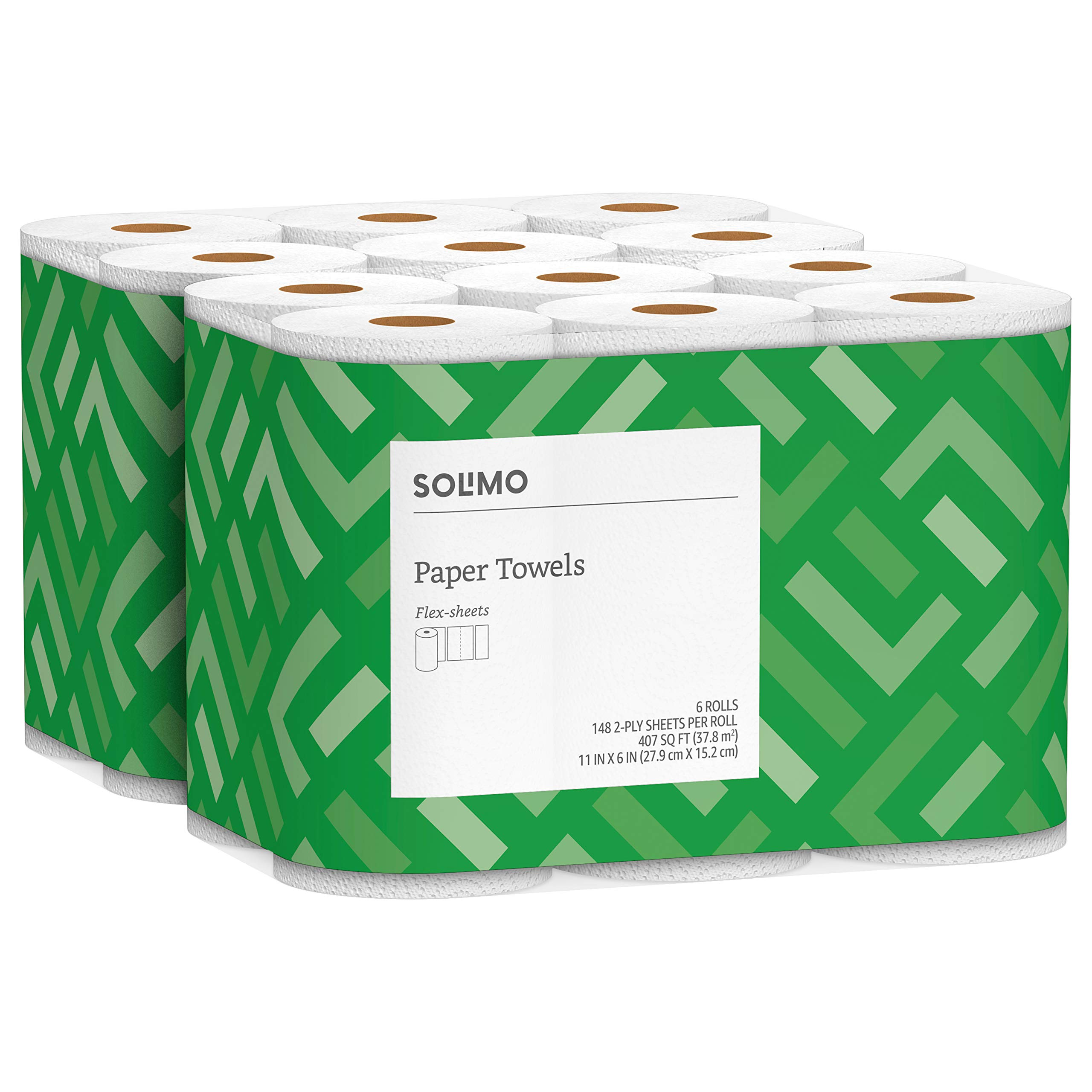 Solimo Basic Flex-Sheets Paper Towels, 12 Value Rolls, White, 148 Sheets per Roll (New Version)