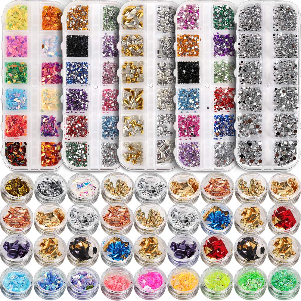 5 box 11440pcs Nails Rhinestones and 36 Pots Foils Flakes, Teenitor professional Nail Decoration with Gems for Nails Stud Foil for Nails Art: Beauty