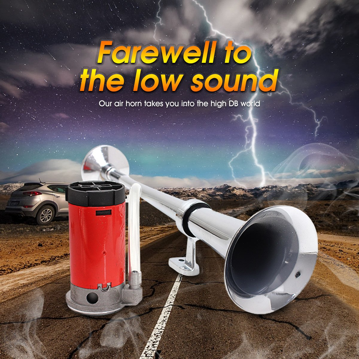 Amazon.com: AUDEW 12V Air Horn,Single Trumpet + Premium Quality Single Air Horn Chrome + Compressor,Super Loud 150db For Truck Lorry Boat SUV Train: ...