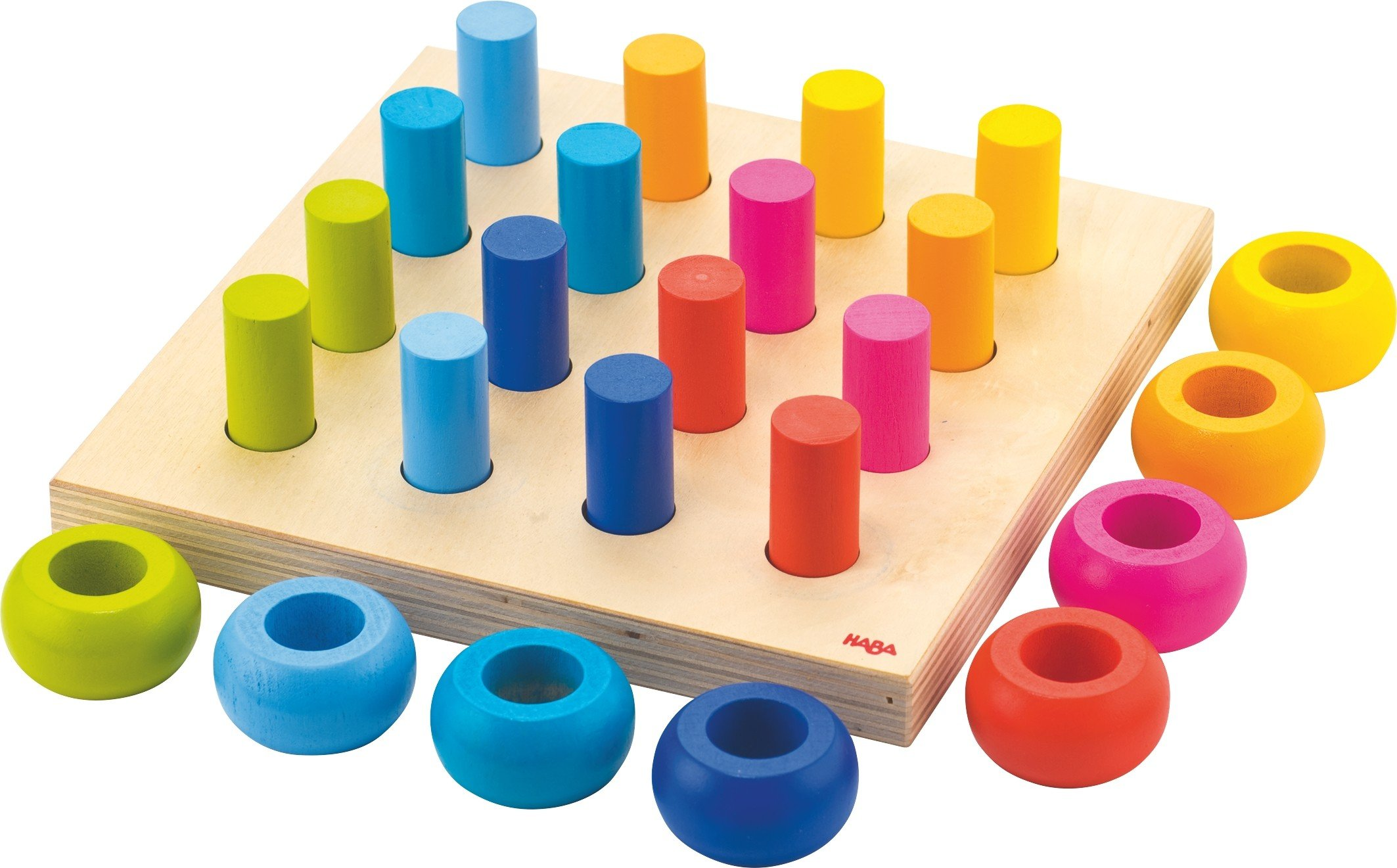 HABA Palette of Pegs - 32 Piece Wooden Pegging & Arranging Game for Ages 2 and Up by HABA
