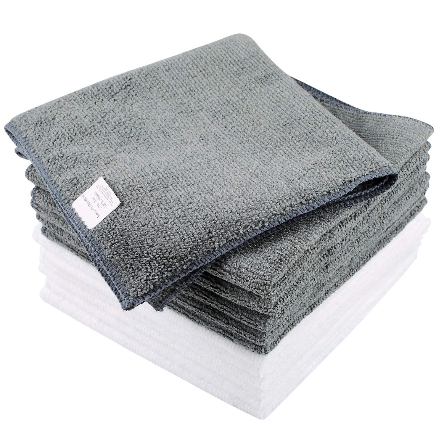 Amazon.com: Solars Microfiber Kitchen Dish Cloths Cleaning Cloths Super Soft, Absorbent and Antibacterial Dust Cloths, 12 x 12 Inch Pack of 12 (Gray+White): ...
