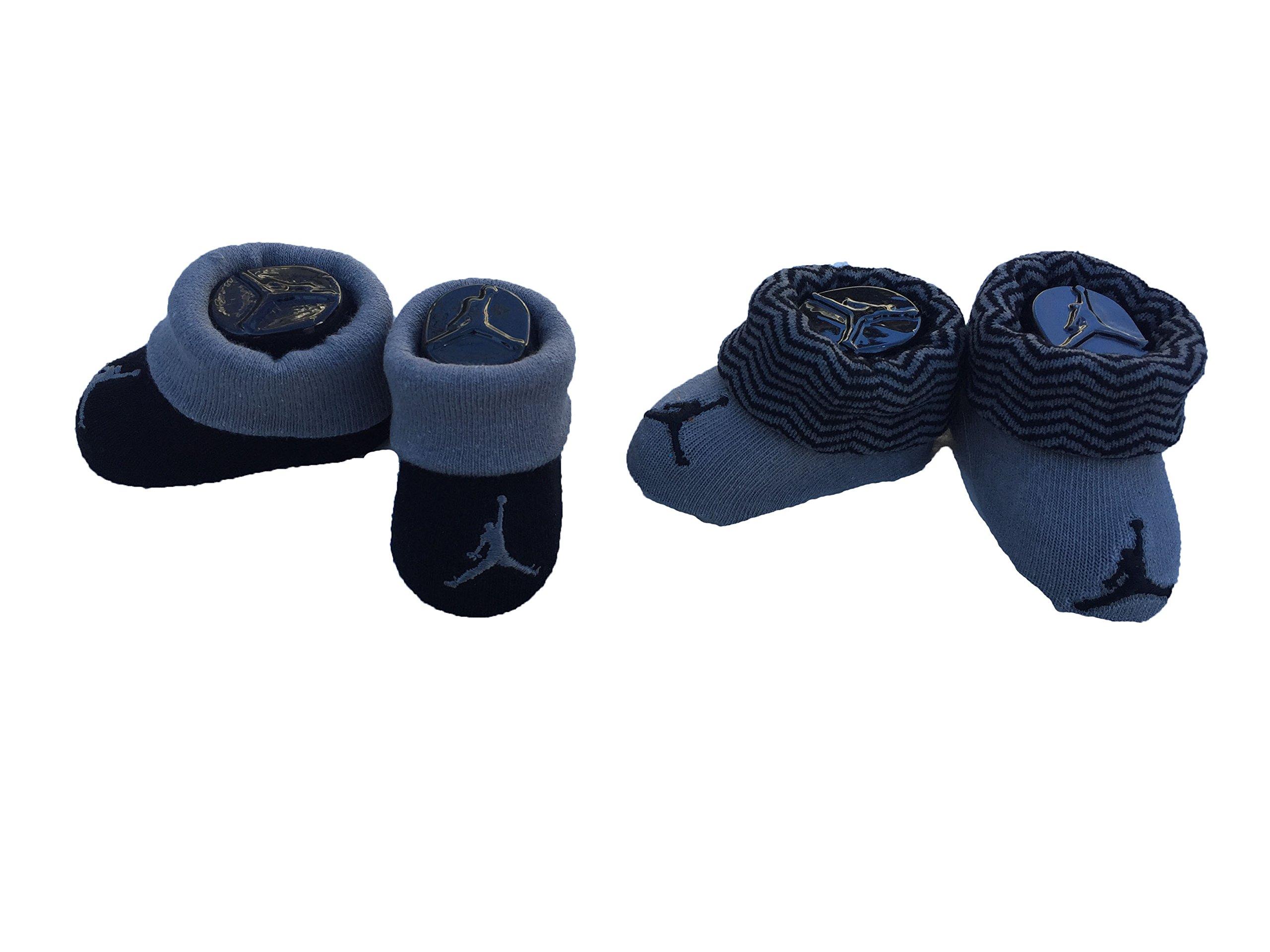 Jordan Infant Baby Socks, 2-Pack Booties (Wolf Grey (IJ0082-101) / Black/Waves, 0-6 Months)