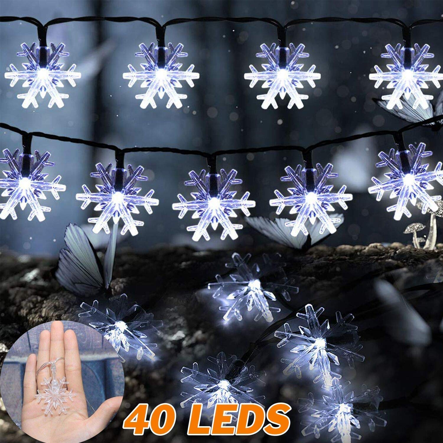 Snowflake Christmas Lights.Abask Snowflake Lights Christmas Lights String Lights 16 Ft 40 Leds Battery Operated Fairy Lights For Christmas Party Wedding White