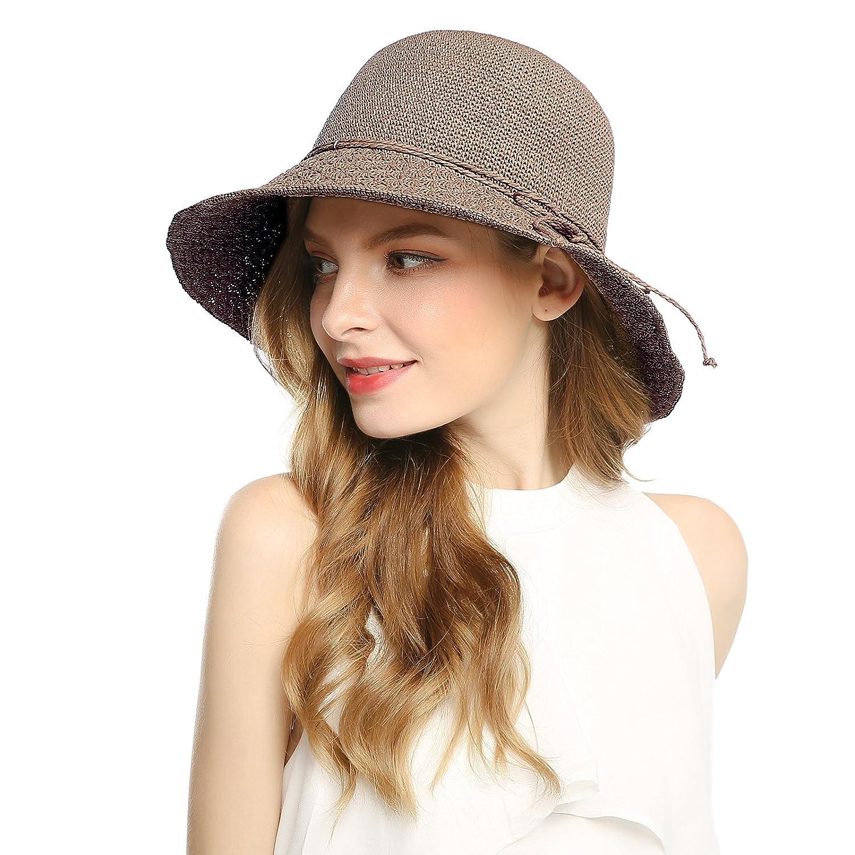 1ba2fd17643 Welrog Floppy Sun Beach Straw Hat - Women Fashion Adjustable Wide Brim  Fedora Cap UPF50+ Brown - Brown - One Size  Amazon.co.uk  Clothing