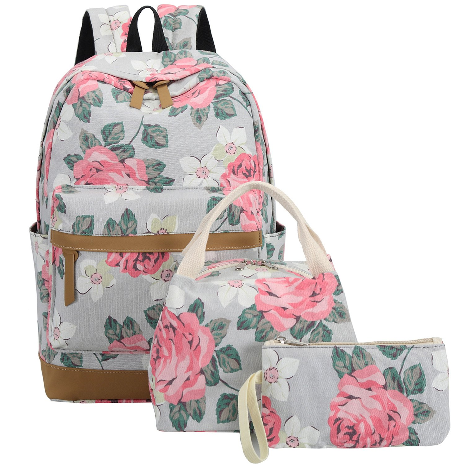 15ee5886edea BLUBOON School Backpack Set Canvas Teen Girls Bookbags 15 inches Laptop  Backpack Kids Lunch Tote Bag Clutch Purse (Big Floral - Gray)