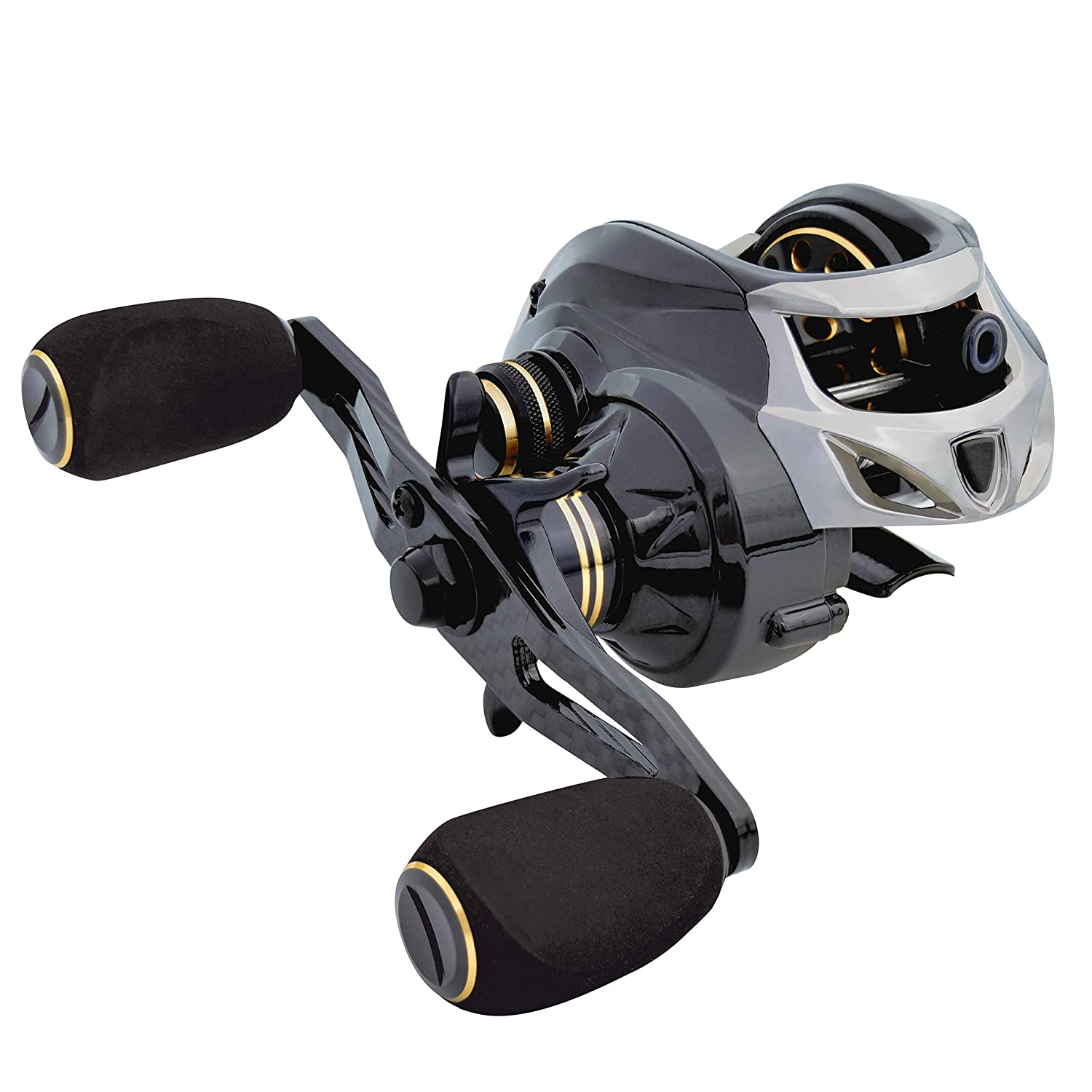 Fishdrops Baitcasting Reels Double Brake Systems Carbon Fiber Body and Handle Baitcaster Reels Only 167g High Speed 7.2 Gear Ratio Ultra Smooth and Light Weight