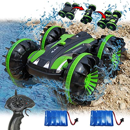 Toys for 5-10 Year Old Boys Girls 2 in 1 Remote Control Boat Amphibious RC Cars Off Road Truck 4WD 2.4Ghz Land Water RC Toy Cars Waterproof Stunt Radio Controlled Vehicle Electric Car