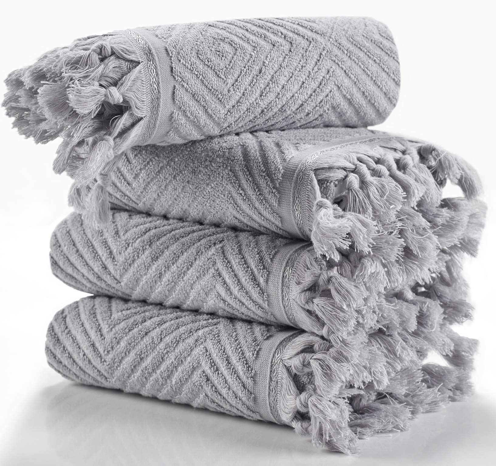 Arvec Turkish Bamboo Towel%70 Bamboo%30 Turkish Cotton, 500 GSM, Authentic Design 4 Piece Hand Towel Set 19 x 35 Ultra Absorbent and Ultra Soft (Grey)