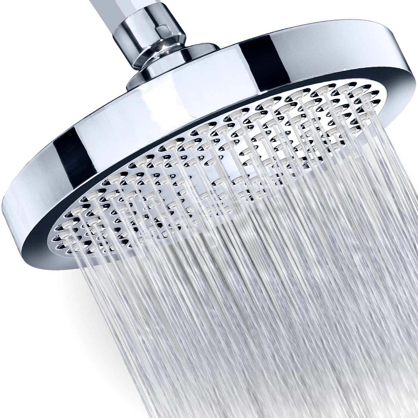"""Shower Head - Rainfall High Pressure 6"""" - Rain High Flow Fixed Luxury Chrome Showerhead - Removable Water Restrictor - Adjustable Metal Swivel Ball Joint - For the Best Relaxation and Spa by SomovWorld"""
