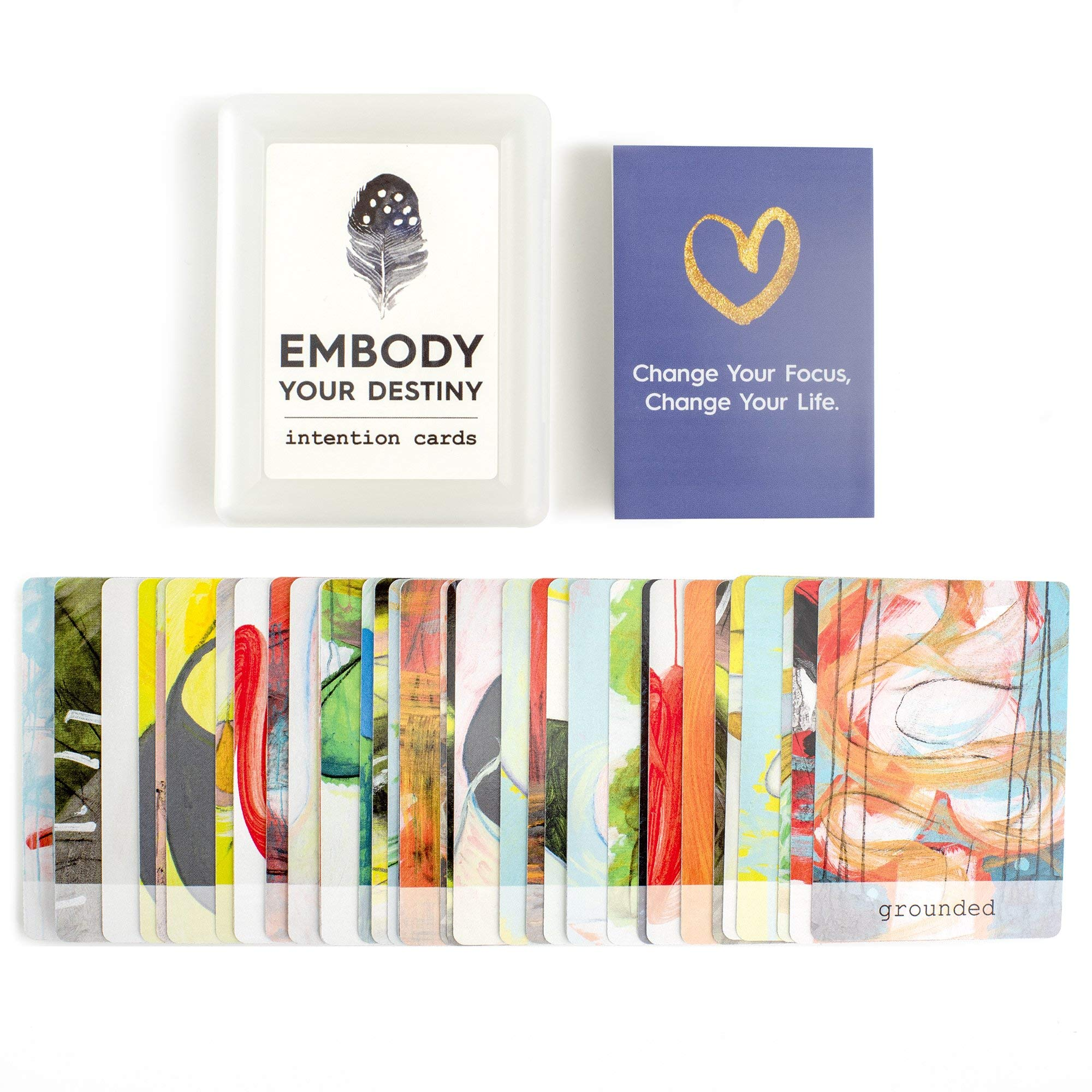 """Embody Your Destiny """"My Daily Intention"""" Oracle Cards with Abstract Art + Uplifting Prompts, Includes Carrying Case & 8-Page Guide"""