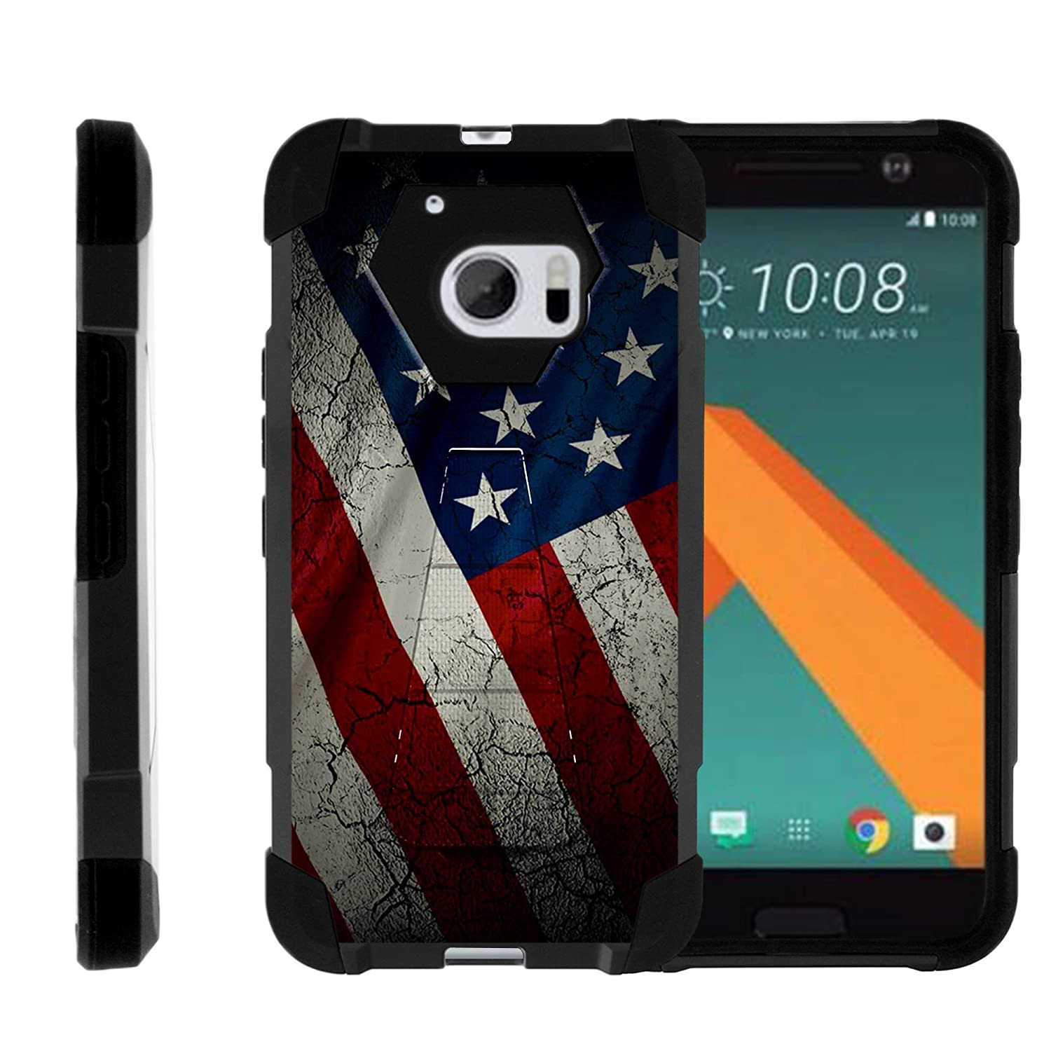 TurtleArmor | Compatible with HTC 10 Case | One M10 Case | HTC 10 Lifestyle [Dynamic Shell] Hybrid Dual Layer Hard Shell Cover Kickstand Silicone Case - American Flag