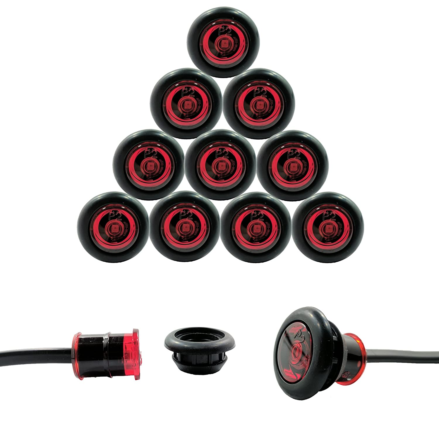 "10 Pack - Red TecNiq USA Made 3/4"" LED Clearance Marker Bullet Grommet Lights (P2 Rated) Inc"