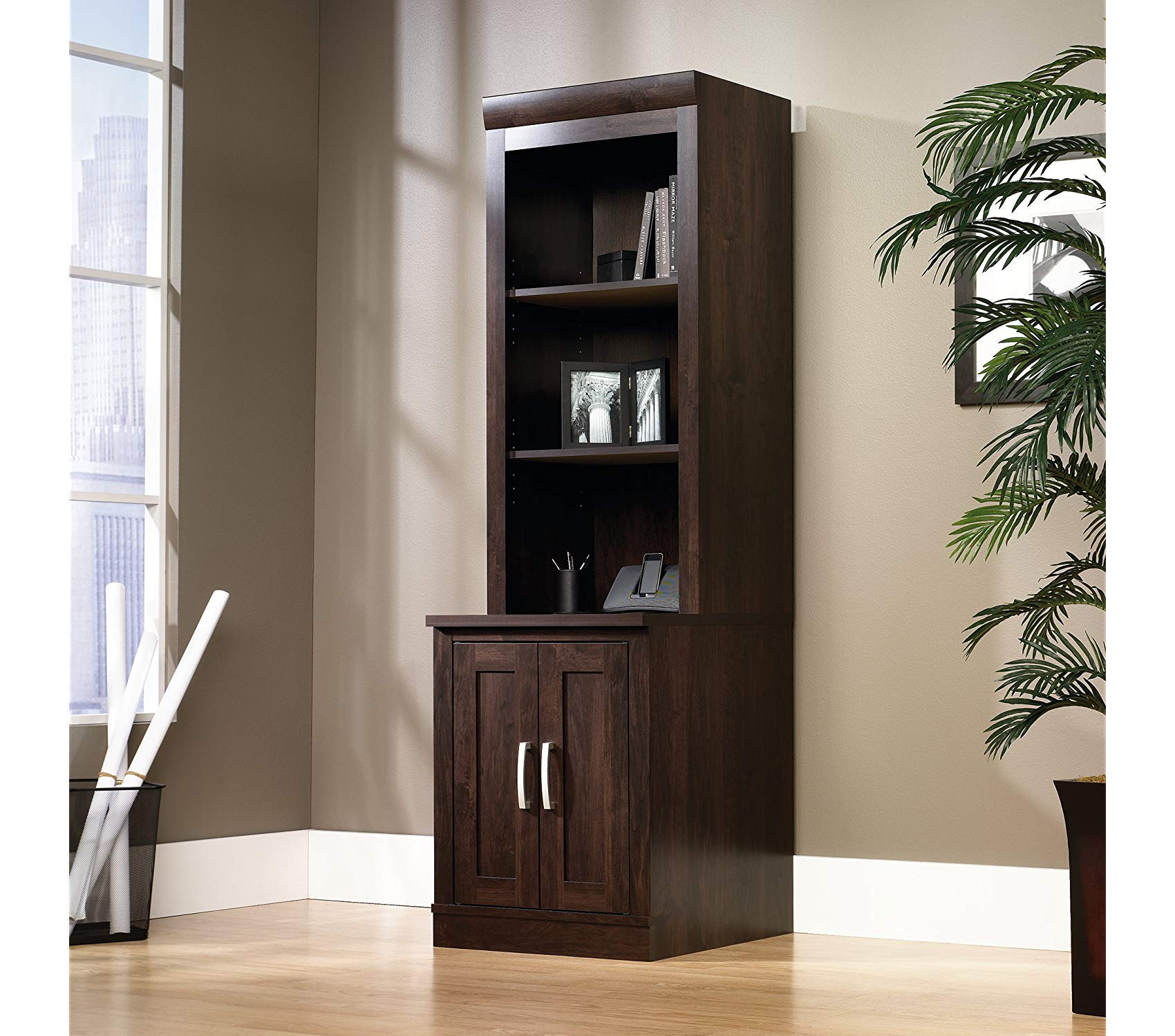 Sаudеr Deluxe Premium Collection Office Port Hutch L: 23.39'' x W: 15.63'' x H: 47.17'' Dark Alder Finish Decor Comfy Living Furniture by Sаudеr (Image #3)